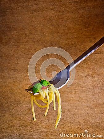 Spaghetti pasta on fork