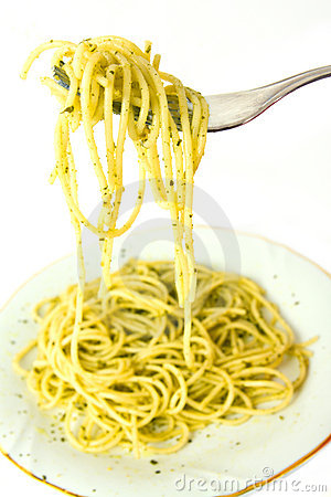 Spaghetti and pesto