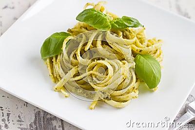 Spaghetti with Pesto and Basil