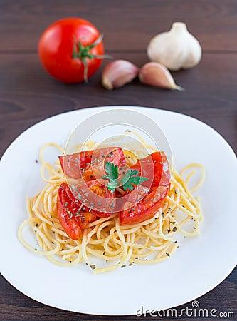 Spaghetti on a plate