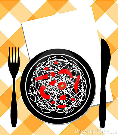 Spaghetti on plate, knife & fork