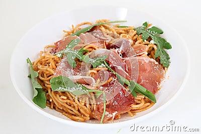 Spaghetti with prosciutto and parmesan