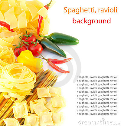 Spaghetti with red pepper, a basil and a tomato