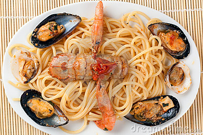 Spaghetti with Sea Fruits and Shellfishes