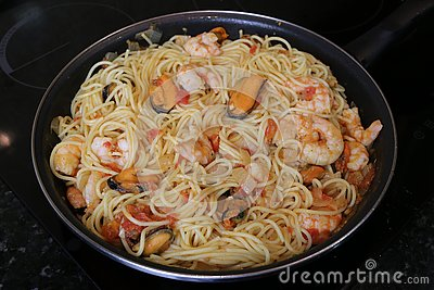 Spaghetti with seafood popular food in restaurants