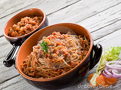 Spaghetti with  soy ragout