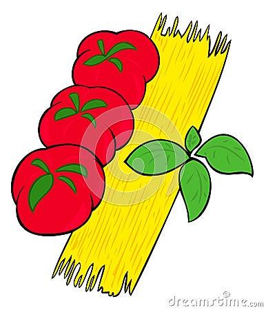 Spaghetti, tomatoes and basil.
