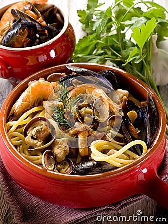 Spahetti with seafood