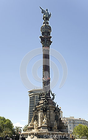 Spain, Barcelona. Monument to Columbus.