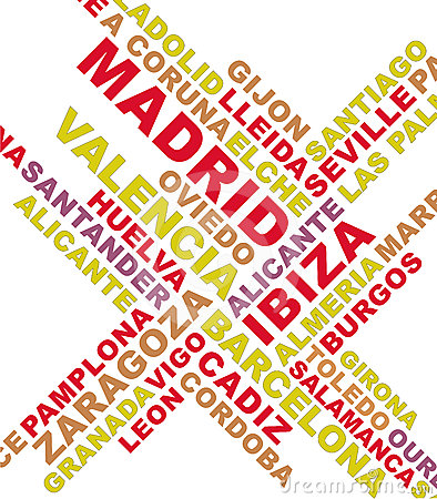 Spain city names collage