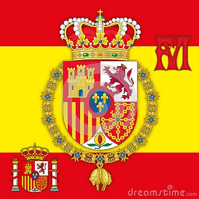 Free Spain, Coat Of Arms Of Kingdom Of Spain With Flag & Monogram Stock Image - 101687631
