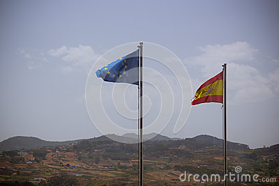 Spain and EU flags