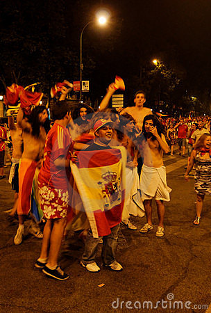 Spain fans Editorial Stock Image