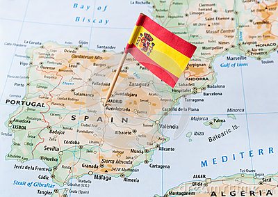 Spain flag on map