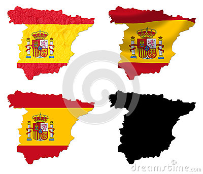 Spain flag over map