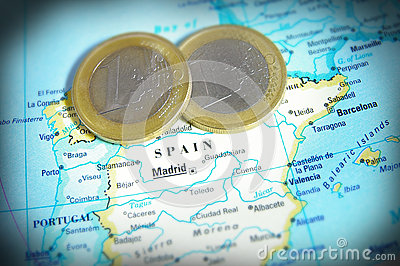 Spain map and Euro coins