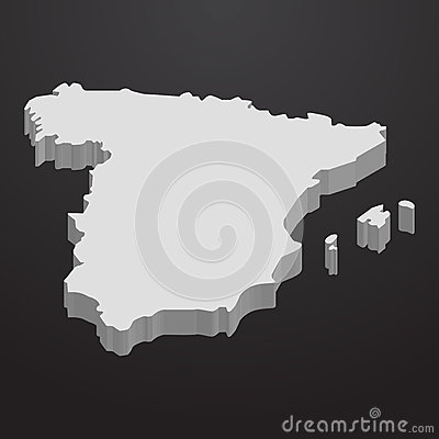 Free Spain Map In Gray On A Black Background 3d Royalty Free Stock Photography - 85699467