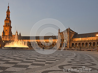 Spain square in Seville at dusk