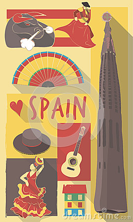 Spain symbols on a poster or postcard