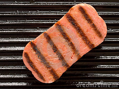 Spam on a grill