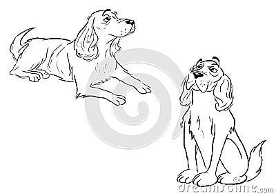 Spaniel dog outlines