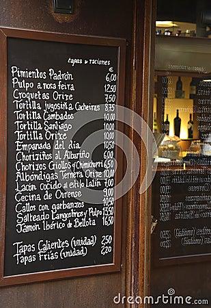 Spanish Bar Menu