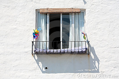 Spanish building and Window on Sunny Day