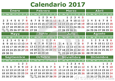 2017 vector calendar in Spanish. Easy for edit and apply. Calendario ...