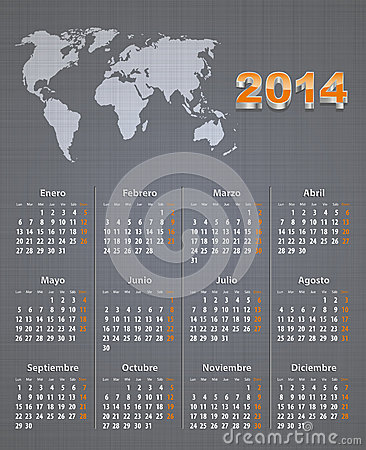 Spanish calendar for 2014 with world map on linen