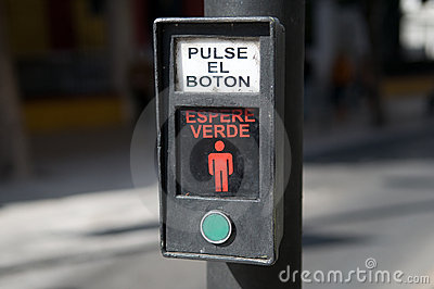 Spanish crosswalk button