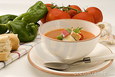 Spanish Cuisine. Gazpacho. Andalusian cold soup.