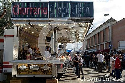 Spanish doughnut trailer (churreria), Spain Editorial Photo