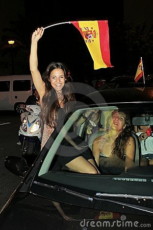 Spanish fans celebrating football world champion Editorial Photography