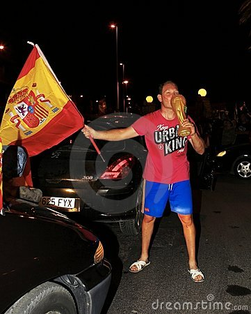 Spanish fans celebrating football world champion Editorial Image