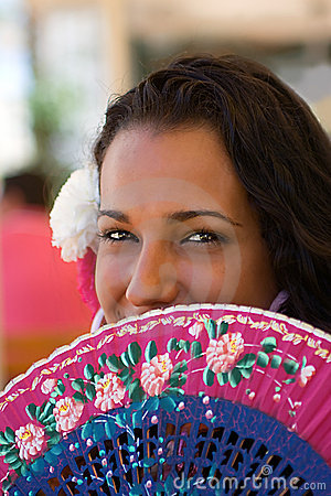 Spanish Female with Fan at Feria