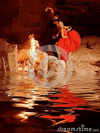Spanish flamenco dancers dancing