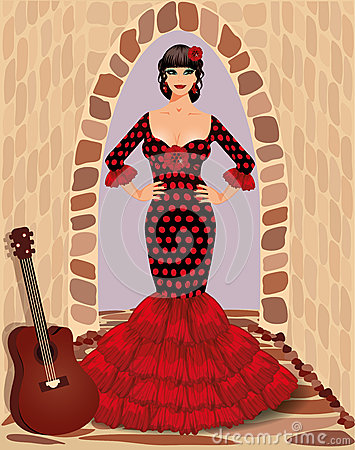 Spanish flamenco girl with guitar