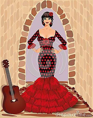 Spanish flamenco girl with guitar