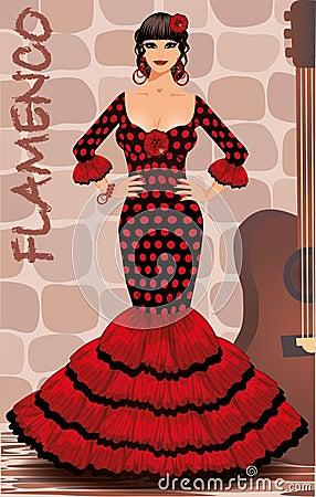 Spanish flamenco girl postcard