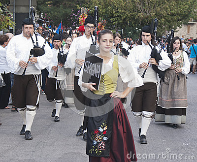 Spanish folk musicians group playing bagpipes Editorial Stock Photo