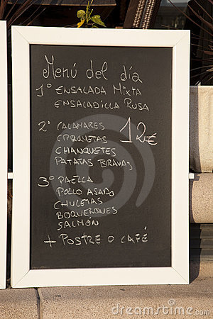 Spanish Food Menu