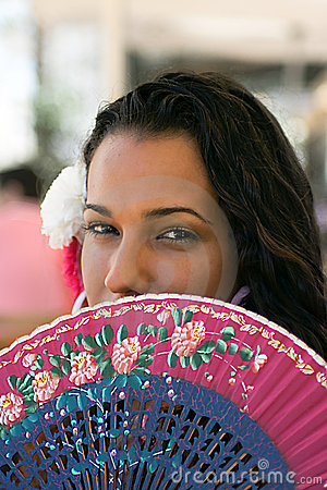 Spanish Girl with Fan at Feria
