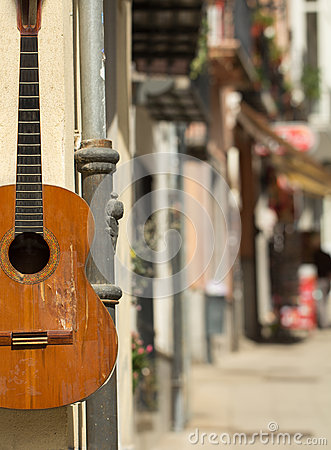 Free Spanish Guitar On The Wall Royalty Free Stock Image - 54646616