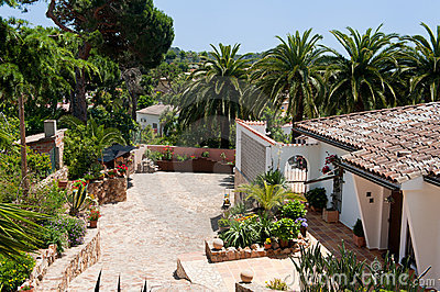 Spanish house with palm trees