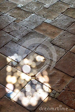Spanish interior stone floor with light