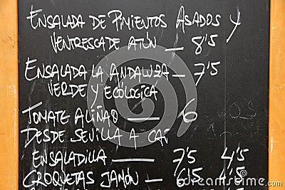 Spanish menu