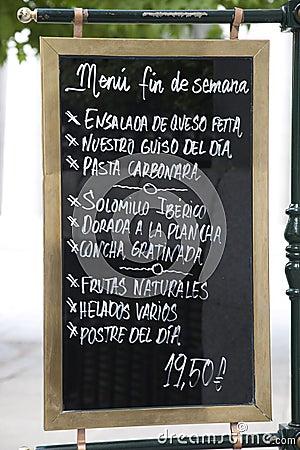 Spanish Menu Sign in Madrid
