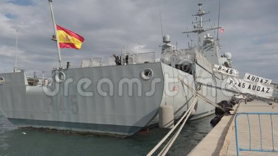 "The Spanish Offshore Patrol Vessel ""Audaz"" P-45 in the port of Valencia, Spain. stock video footage"