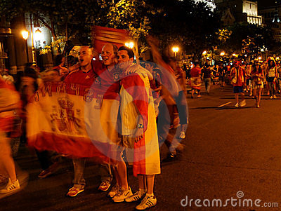Spanish people celebrating victory Editorial Stock Photo