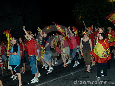 Spanish people celebrating the Worldcup victory Editorial Image